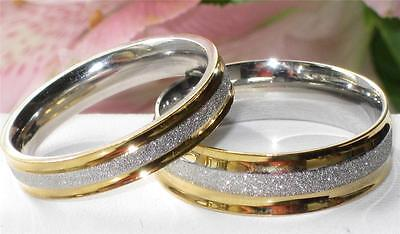 MENS WOMENS  7mm 4mm stainless steel gold wedding band WEDDING ring STR4 2tone