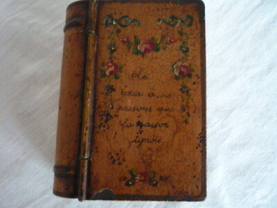 Antique French Verse Toleware Tôle Peinte Tole Ware Keepsake Book Tin Roses Chic