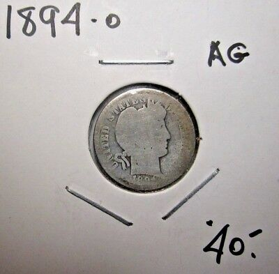 1894-O Barber Liberty Head Silver Dime ***key Date*** Ag About Good