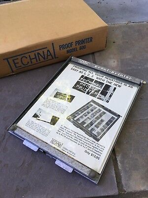 Vintage Technal Proof Printer No. 600 Great Condition Never Used Orig Box