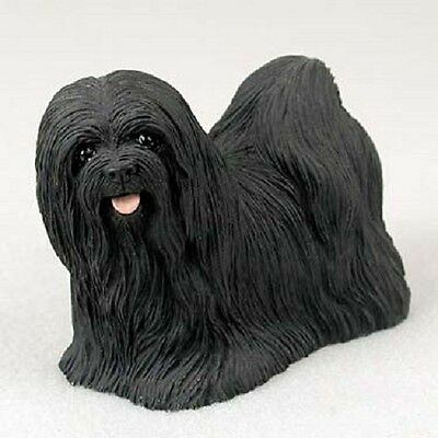 LHASA APSO Dog FIGURINE black puppy HAND PAINTED COLLECTIBLE Resin Statue NEW