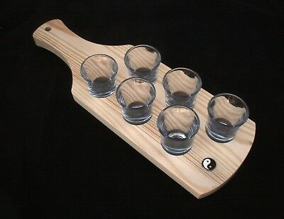 Ying Yang Set of 6 Shot Glasses with Wooden Paddle Tray Holder