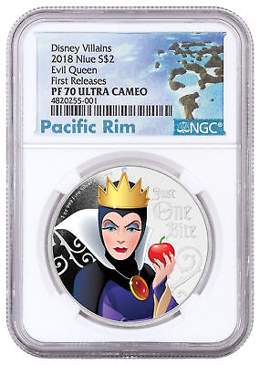 2018 Niue Disney Villains - Evil Queen 1 oz Silver $2 NGC PF70 UC FR SKU53807