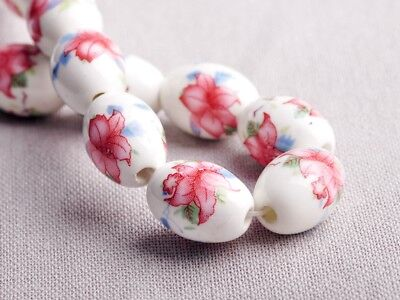 NEW 10pcs 18X12mm Oval Ceramic Flowers Pattern Loose Spacer Beads Findings #6