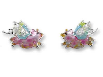 New ZARAH Enamel Jewelry STERLING SILVER Post Earrings FLYING PIG Pink Winged