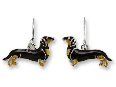 ZARAH Enamel Jewelry STERLING SILVER Drop Earrings BLACK TAN DACHSHUND Dog Puppy