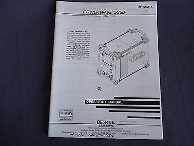 Lincoln Electric Welding Power Wave S350 Operator's Manual 11694 11782 IM10061-A