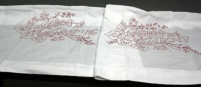 "PAIR TURKEY RED EMBROIDERED LAYOVER PILLOW SHAMS GOOD NIGHT MORNING 29"" x 33"""
