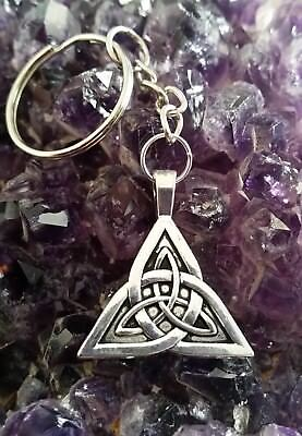 Wow - Silver Celtic Knot Triquetra Charm Pendant On Key Chain With Free Post