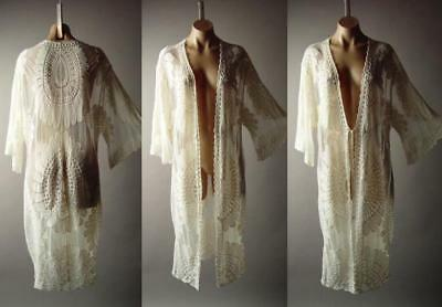 3cd9df474 Ivory Sheer Embroidered Lace Boho Goddess Long Duster Kimono 278 mv Jacket  S M L