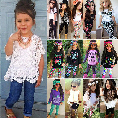 Baby Kids Girls Summer Outfits Casual Tops T-shirt Pants Leggings Clothes Set