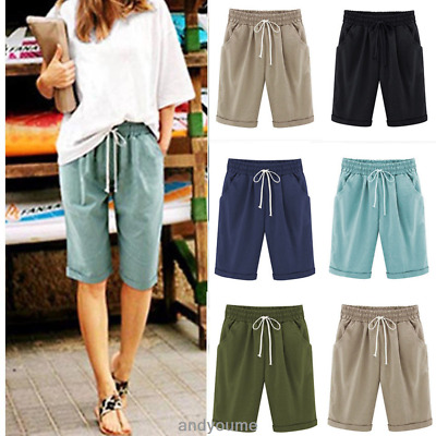 Womens Combat Chino Cargo Shorts Knee Length Summer Holiday Pants Plus Size 6-22