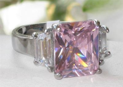 1224 PINK SAPPHIRE EMERALD CUT SIMULATED DIAMOND SPARKLING PRETTY RING JLO