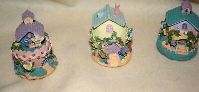 "Estate: Easter Set of (3) small Bunny Houses, Resin, very Detailed each 2-1/2"" T"