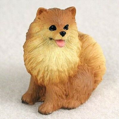 POMERANIAN Red Dog TiNY FIGURINE resin HAND PAINTED MINIATURE Mini statue puppy