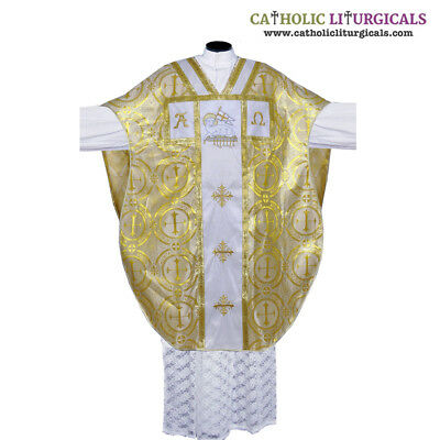 Metallic Yellow Chasuble.St. Philip Neri Style vestment & mass set 5 pc, IHS