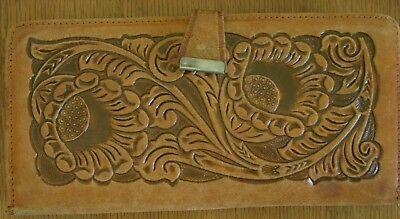 Vtg? Tooled Mexican Leather Western ladies Wallet Checkbook Mexico Used