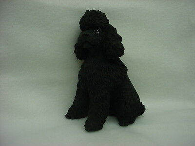 BLACK POODLE dog HAND PAINTED FIGURINE puppy sport cut COLLECTIBLE Resin Statue