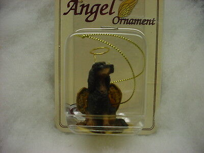 GORDON SETTER Dog ANGEL Ornament HAND PAINTED Resin FIGURINE Christmas puppy NEW