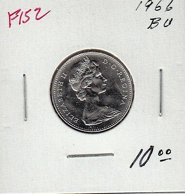 F152 CANADA 5 CENTS 5c COIN 1966 UNCIRCULATED CAMEO FROSTED CHARLTON $7.00