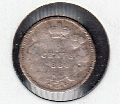 F85 CANADA 5 CENTS 5c COIN 1880H CIRCULATED - $15.00