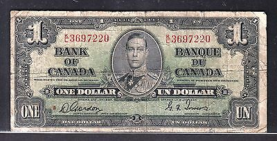 R52 Canada $1.00 Banknote 1937 - Circulated Fine - Gordon/Towers - $12.00