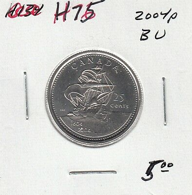 H75 CANADA 25c 25 CENTS coin 2004p BRILLIANT UNCIRCULATED $5.00