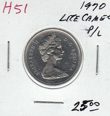 H51 CANADA 25c 25 CENTS coin 1970 PROOF-LIKE LIGHT CAMEO FROSTED DESIGN $25