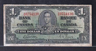 R44 Canada $1.00 Banknote 1937 - Circulated Fine - Gordon/Towers - $12.00