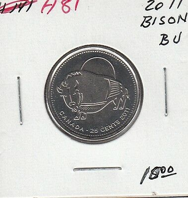 H81 CANADA 25c 25 CENTS coin 2011 BRILLIANT UNCIRCULATED BISON $10.00
