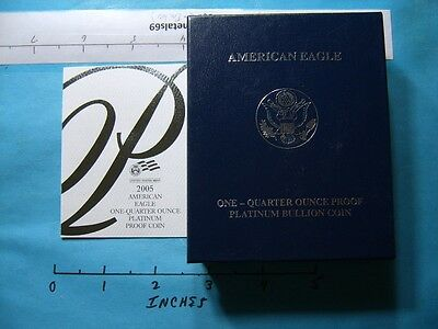2005 American Eagle Platinum Proof 1/4 Oz Box Only With Papers