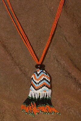 Tribal Borneo Collectible Old Beads Tassel Necklace Ethnic Dayak Status Symbol -
