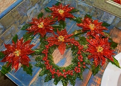 Awesome Mid Century Modern Lucite Huge Poinsettia Christmas Decor Lot Of 6
