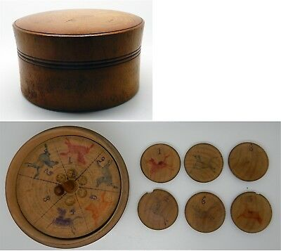 Antique / Vintage English Wooden Race Horse Roulette Style Game in Round Case