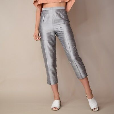 Vtg 90s woven RAW SILK chic minimalist CIGARETTE cropped pinup trousers pants 26