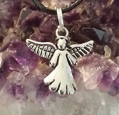 WOW - NEW ADORABLE SILVER PLATED ANGEL CHARM ONE ONLY - On 44cm Ext Black Cord