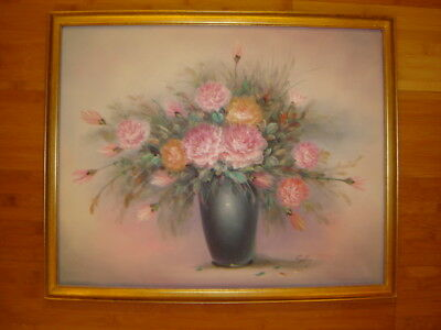 "VINTAGE flower rose roses  original hand painted oil PAINTING blue vase ""Sally"""