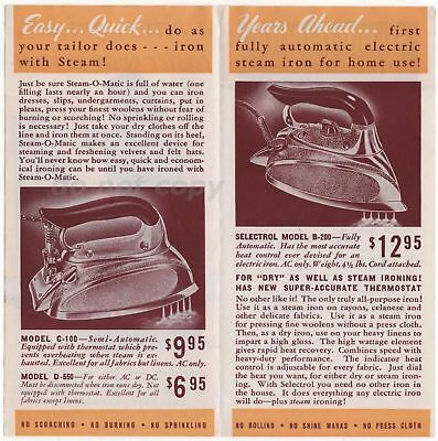 Steam-O-Matic Electric Steam Iron Ad Leaflet Model C-100 D-550 B-200