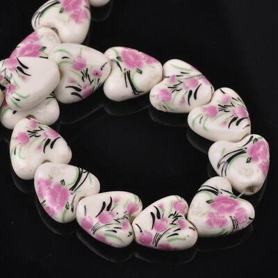 NEW 10pcs 14mm Ceramic Heart Flowers Loose Spacer Beads Findings Pattern #17