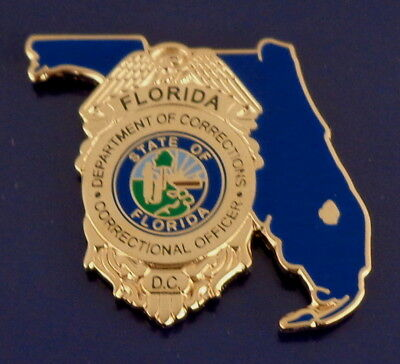 Florida Department of Corrections STATE SHAPE Mini GOLD Badge Lapel Pin FL DOC