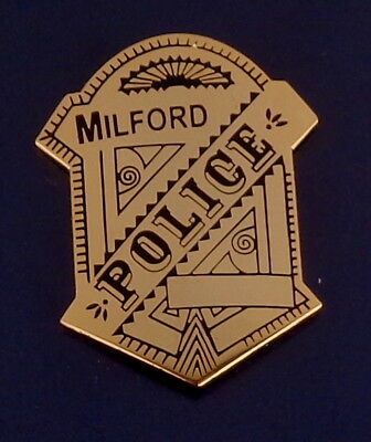 Milford MA Massachusetts Police Mini Badge Lapel Pin Gold