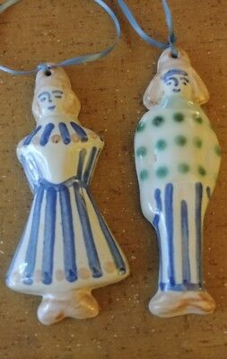 "M.A. Hadley Plaques- Farmer & Wife Hanging Pottery 6"" Signed Pottery Figures Vtg"