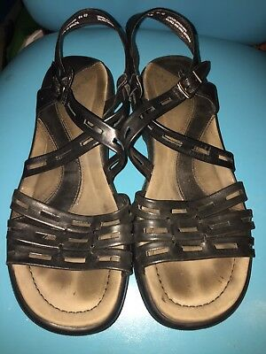 b12b6e874c3 Dansko Strapy Sandals Black Leather Adjustable Straps Slip Ons Womens Size  40