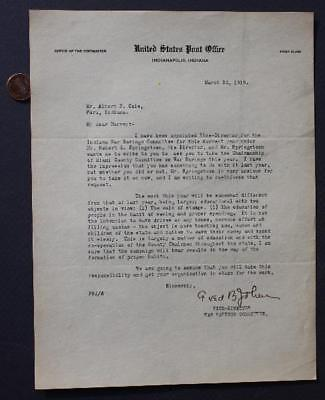 1919 Peru,Indiana World War I Savings Committee letter-Cole Brothers Circus too!