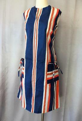 RED, WHITE & BLUE STRIPED Vintage 1960s MOD COTTON ZIPFRONT SHIFT SUN DRESS