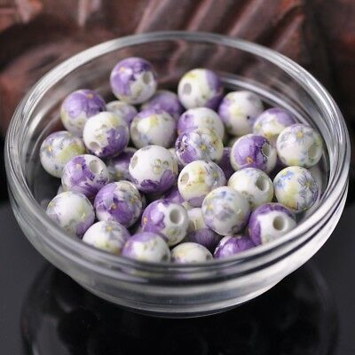 NEW 20pcs 10mm Round Smooth Ceramic Loose Spacer Beads Flower Pattern #36