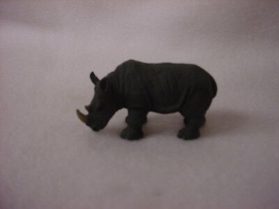 RHINO animal TiNY FIGURINE Resin RHINOCEROS HAND PAINTED MINIATURE MINI  Zoo NEW