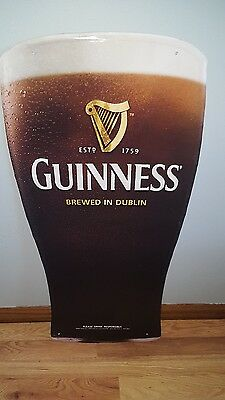 "(L@@k) Guinness Beer Giant Pint Glass 35"" Tin Tacker Pub Sign Man Cave Game Room"