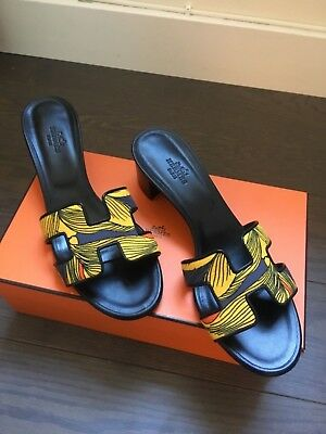 4639a4af5b37 New Hermes Oran Oasis Iris Printed Sandal Size 38 Shoes Flats With Box  780