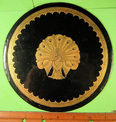 Burma, Myanmar Lacquerware  Round Plaque with Peacock